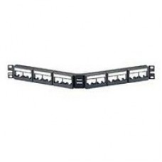 "19"" 24 port angled patch panel with labels, with 6 CFFPL4 removable snap-in faceplates."