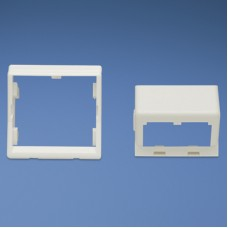 45 x 45mm adapter and one 1/2 size sloped module insert. Depth to rear of module..