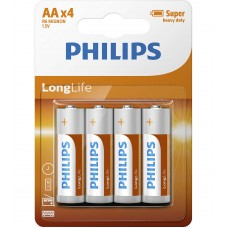 Philips Longlife батерия R6 AA (E), 4-blister