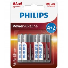 Philips Power Alkaline батерии LR6 AA, 4+2-blister PROMO
